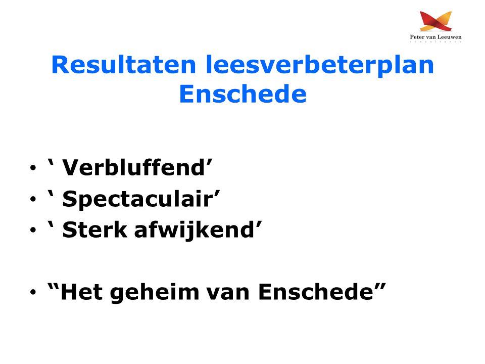 """Resultaten leesverbeterplan Enschede ' Verbluffend' ' Spectaculair' ' Sterk afwijkend' """"Het geheim van Enschede"""""""