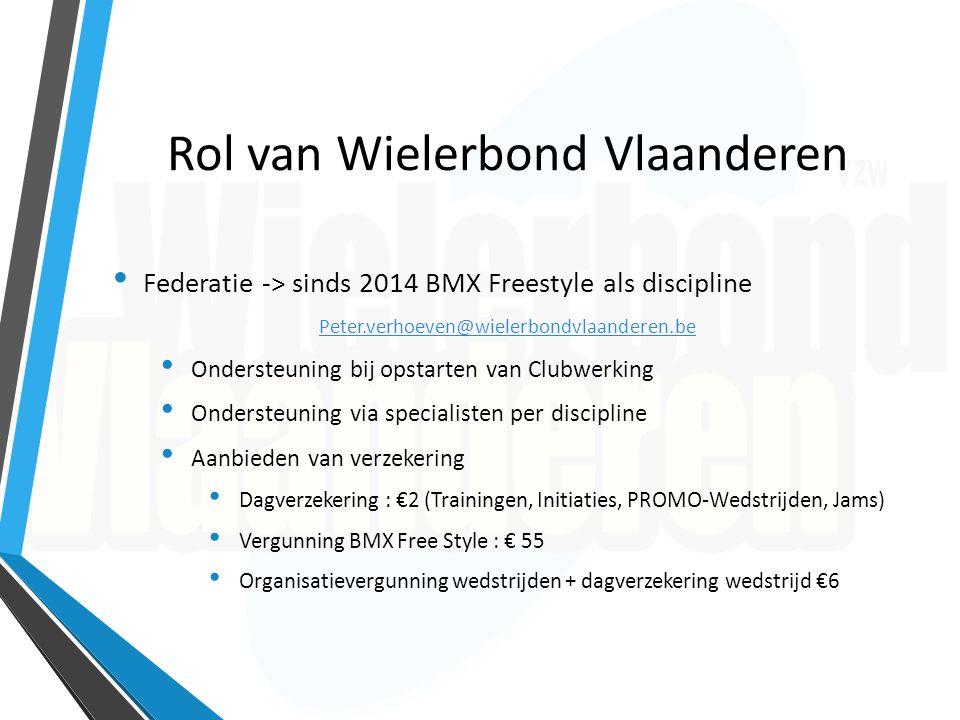 Rol van Wielerbond Vlaanderen Federatie -> sinds 2014 BMX Freestyle als discipline Peter.verhoeven@wielerbondvlaanderen.be Ondersteuning bij opstarten
