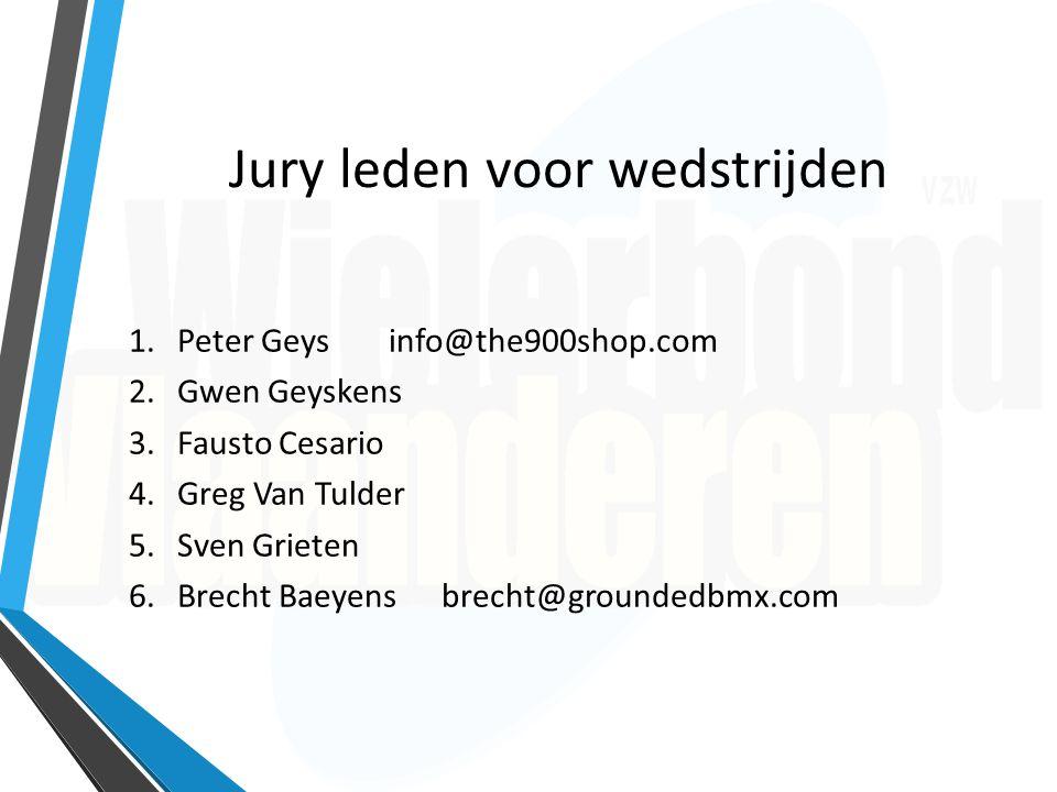 Jury leden voor wedstrijden 1.Peter Geys info@the900shop.com 2.Gwen Geyskens 3.Fausto Cesario 4.Greg Van Tulder 5.Sven Grieten 6.Brecht Baeyensbrecht@