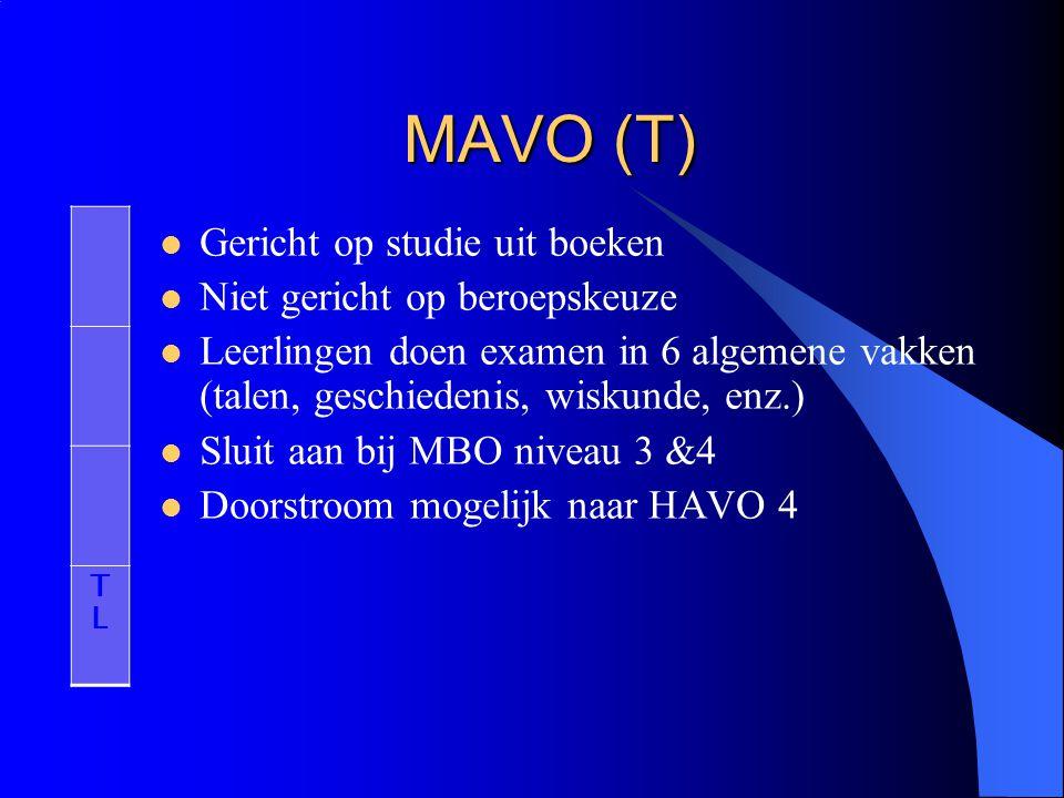 MAVO (T) Gericht op studie uit boeken Niet gericht op beroepskeuze Leerlingen doen examen in 6 algemene vakken (talen, geschiedenis, wiskunde, enz.) S