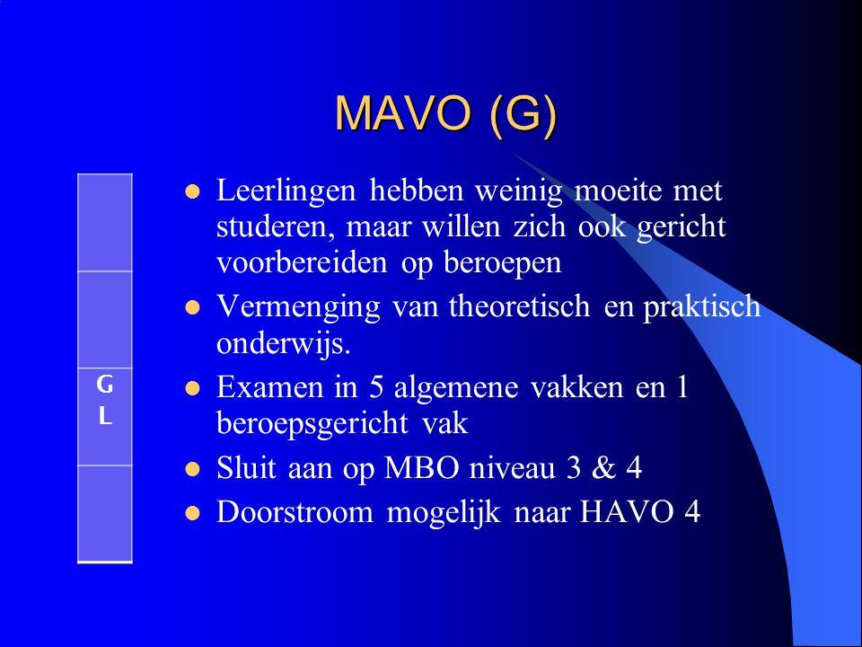 MAVO (G) Leerlingen hebben weinig moeite met studeren, maar willen zich ook gericht voorbereiden op beroepen Vermenging van theoretisch en praktisch o