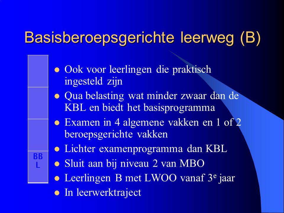 Basisberoepsgerichte leerweg (B) Ook voor leerlingen die praktisch ingesteld zijn Qua belasting wat minder zwaar dan de KBL en biedt het basisprogramm