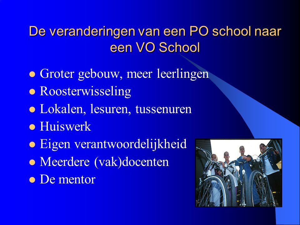 De veranderingen van een PO school naar een VO School Groter gebouw, meer leerlingen Roosterwisseling Lokalen, lesuren, tussenuren Huiswerk Eigen vera