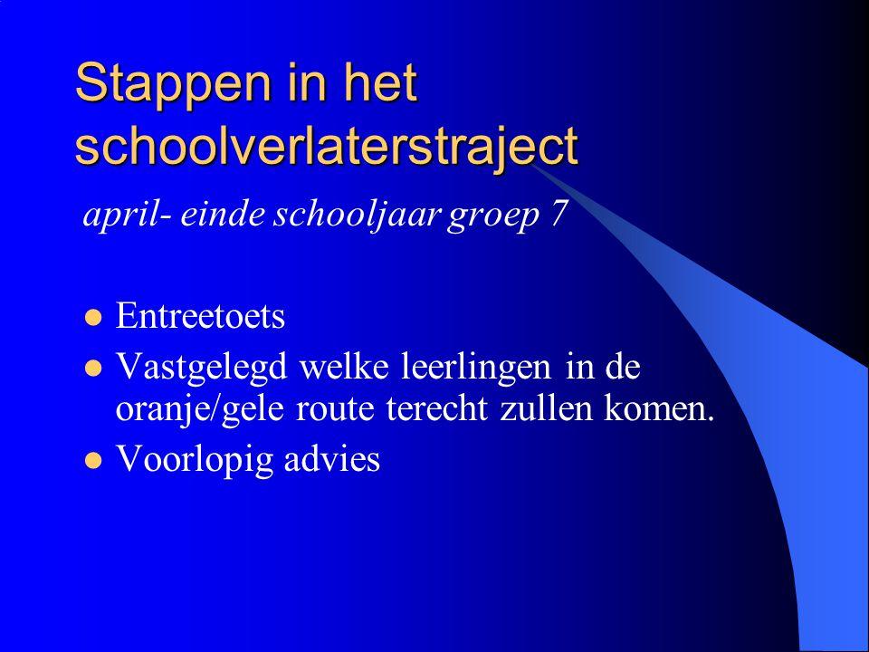 Stappen in het schoolverlaterstraject april- einde schooljaar groep 7 Entreetoets Vastgelegd welke leerlingen in de oranje/gele route terecht zullen k