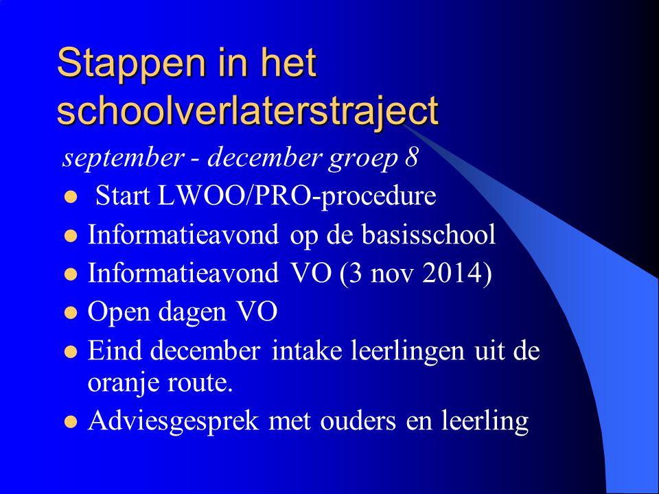 Stappen in het schoolverlaterstraject september - december groep 8 Start LWOO/PRO-procedure Informatieavond op de basisschool Informatieavond VO (3 no
