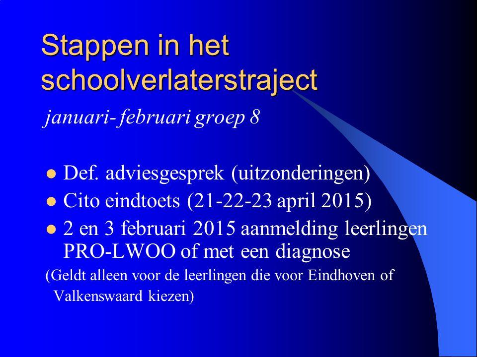 Stappen in het schoolverlaterstraject januari- februari groep 8 Def. adviesgesprek (uitzonderingen) Cito eindtoets (21-22-23 april 2015) 2 en 3 februa