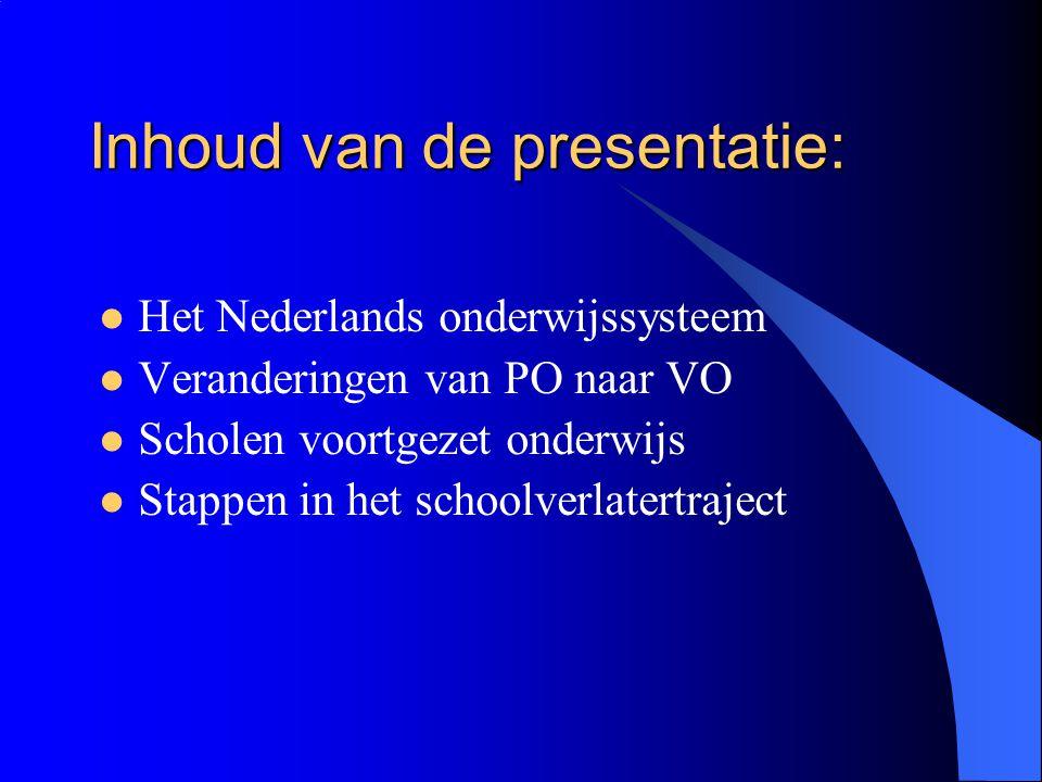 Inhoud van de presentatie: Het Nederlands onderwijssysteem Veranderingen van PO naar VO Scholen voortgezet onderwijs Stappen in het schoolverlatertraj