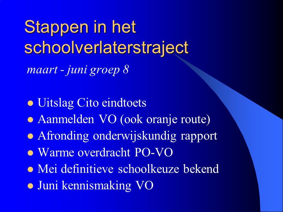Stappen in het schoolverlaterstraject maart - juni groep 8 Uitslag Cito eindtoets Aanmelden VO (ook oranje route) Afronding onderwijskundig rapport Wa