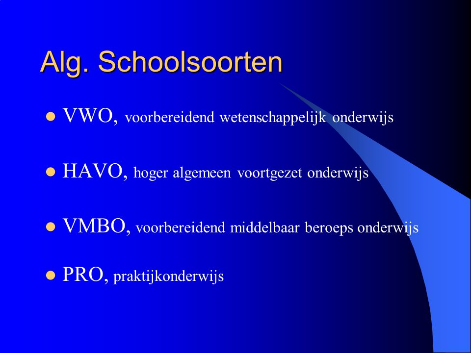 Praktijkonderwijs Voor leerlingen waarvan verwacht wordt dat zij geen VMBO diploma kunnen behalen.