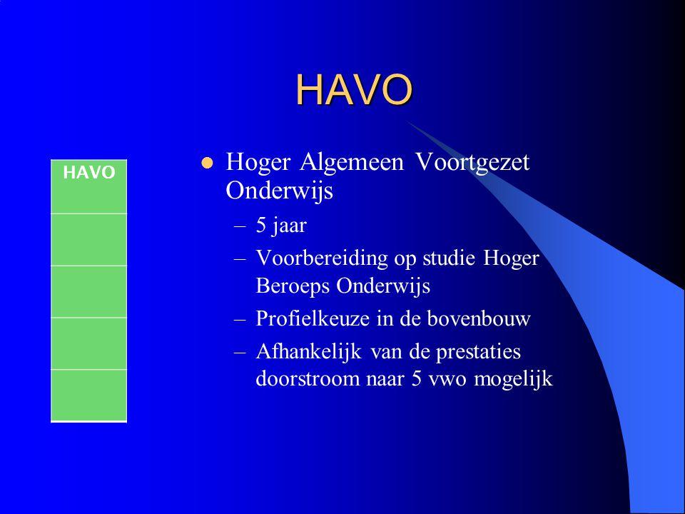 HAVO Hoger Algemeen Voortgezet Onderwijs –5 jaar –Voorbereiding op studie Hoger Beroeps Onderwijs –Profielkeuze in de bovenbouw –Afhankelijk van de pr