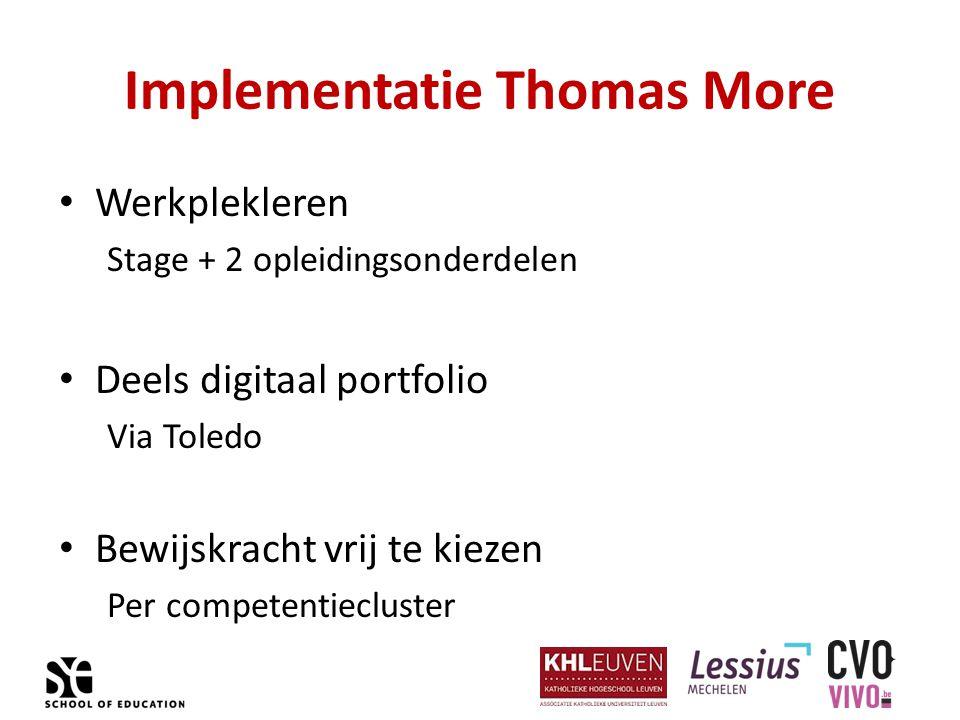 Implementatie Thomas More Werkplekleren Stage + 2 opleidingsonderdelen Deels digitaal portfolio Via Toledo Bewijskracht vrij te kiezen Per competentiecluster
