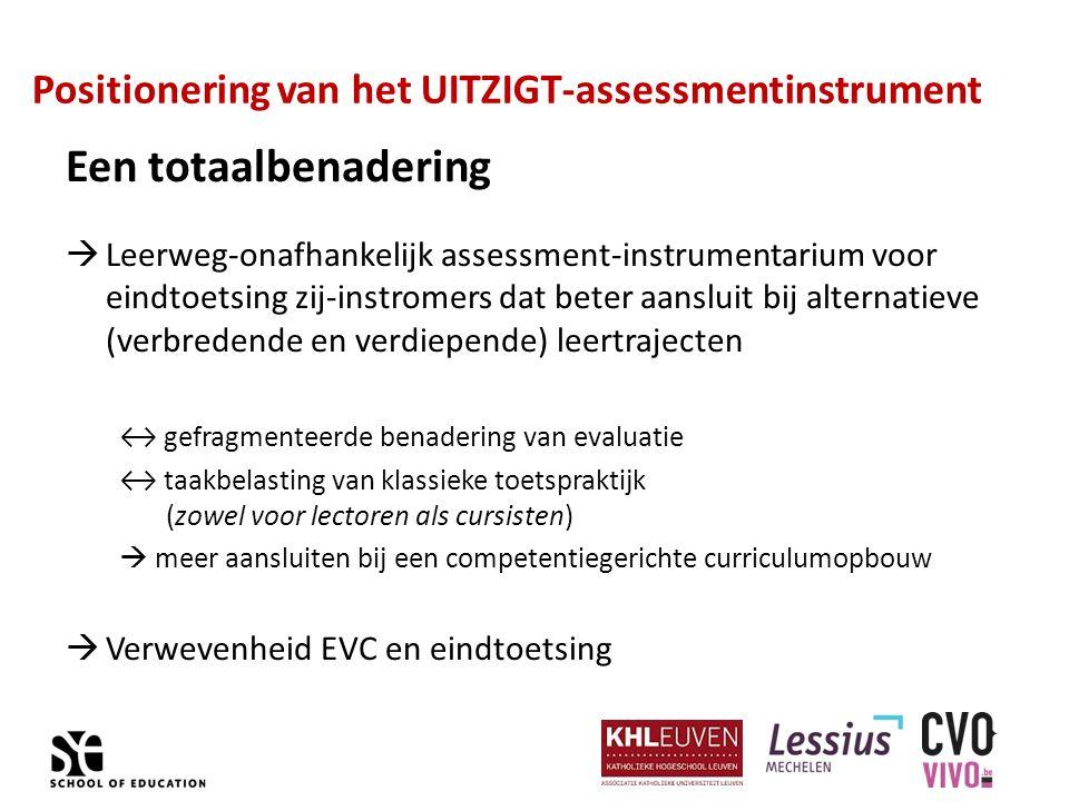 Positionering van het UITZIGT-assessmentinstrument Een totaalbenadering  Leerweg-onafhankelijk assessment-instrumentarium voor eindtoetsing zij-instr