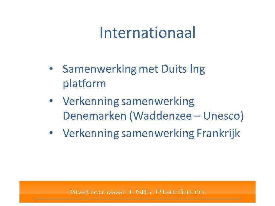 Internationaal Samenwerking met Duits lng platform Verkenning samenwerking Denemarken (Waddenzee – Unesco) Verkenning samenwerking Frankrijk