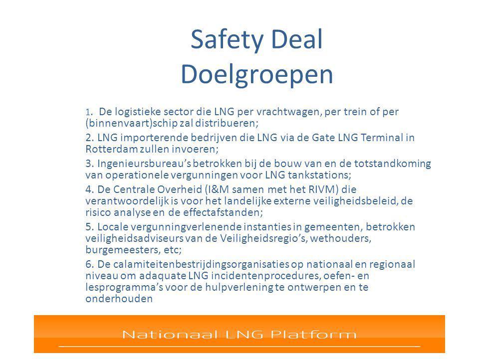 Safety Deal Doelgroepen 1. De logistieke sector die LNG per vrachtwagen, per trein of per (binnenvaart)schip zal distribueren; 2. LNG importerende bed