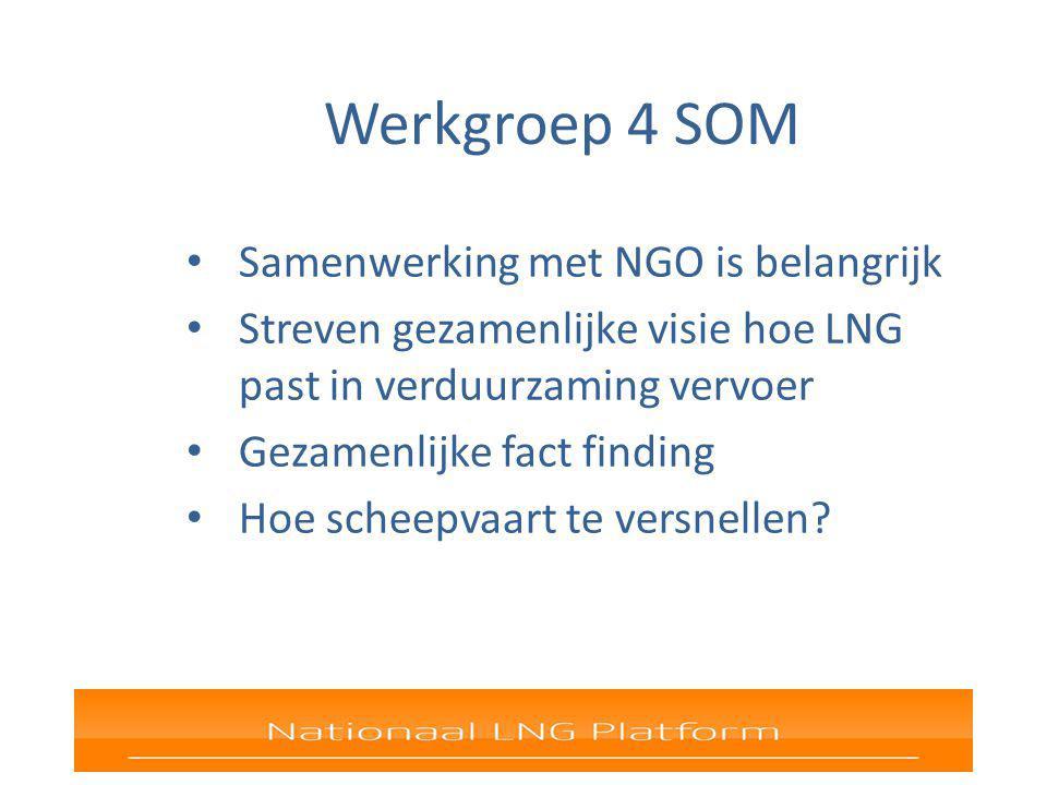 Werkgroep 4 SOM Samenwerking met NGO is belangrijk Streven gezamenlijke visie hoe LNG past in verduurzaming vervoer Gezamenlijke fact finding Hoe scheepvaart te versnellen?