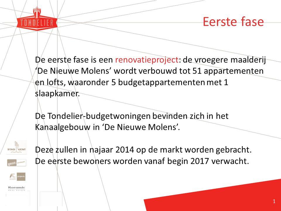 12 Eerste fase De eerste fase is een renovatieproject: de vroegere maalderij 'De Nieuwe Molens' wordt verbouwd tot 51 appartementen en lofts, waaronder 5 budgetappartementen met 1 slaapkamer.
