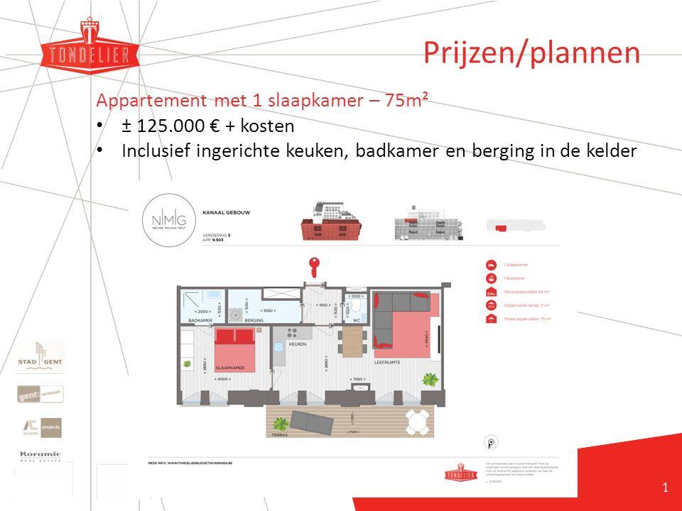 20 Prijzen/plannen Appartement met 1 slaapkamer – 75m² ± 125.000 € + kosten Inclusief ingerichte keuken, badkamer en berging in de kelder