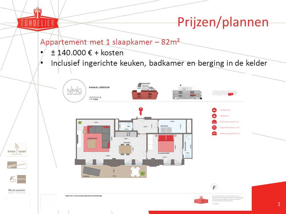 21 Prijzen/plannen Appartement met 1 slaapkamer – 82m² ± 140.000 € + kosten Inclusief ingerichte keuken, badkamer en berging in de kelder