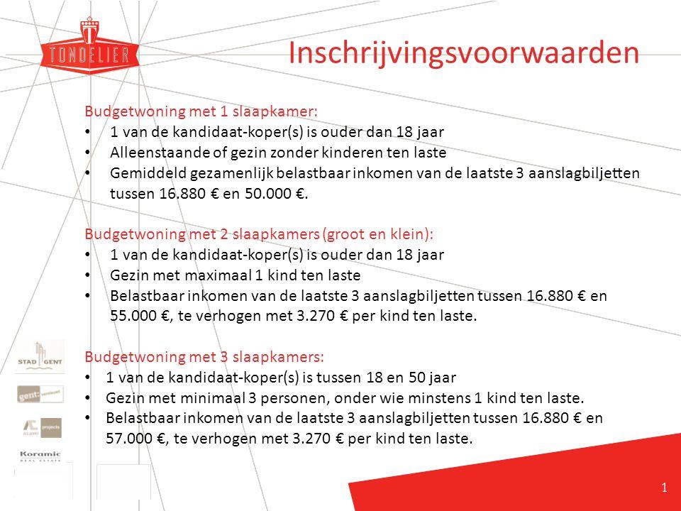22 Inschrijvingsvoorwaarden Budgetwoning met 1 slaapkamer: 1 van de kandidaat-koper(s) is ouder dan 18 jaar Alleenstaande of gezin zonder kinderen ten laste Gemiddeld gezamenlijk belastbaar inkomen van de laatste 3 aanslagbiljetten tussen 16.880 € en 50.000 €.