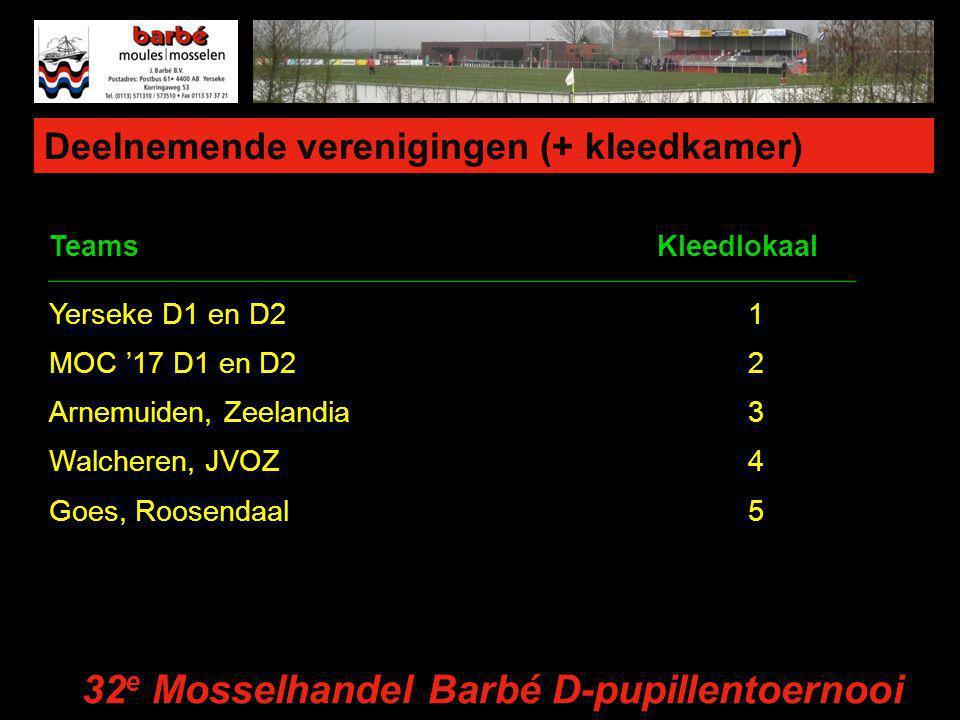 Deelnemende verenigingen (+ kleedkamer) TeamsKleedlokaal Yerseke D1 en D21 MOC '17 D1 en D22 Arnemuiden, Zeelandia3 Walcheren, JVOZ4 Goes, Roosendaal5 32 e Mosselhandel Barbé D-pupillentoernooi