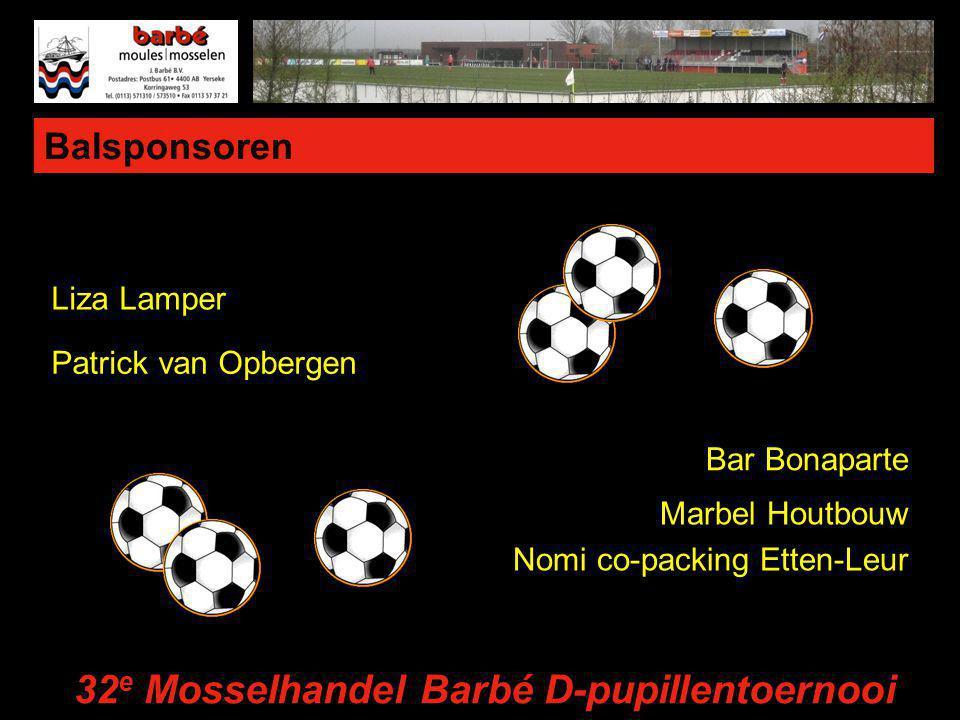 Balsponsoren Liza Lamper Patrick van Opbergen Bar Bonaparte Marbel Houtbouw Nomi co-packing Etten-Leur 32 e Mosselhandel Barbé D-pupillentoernooi