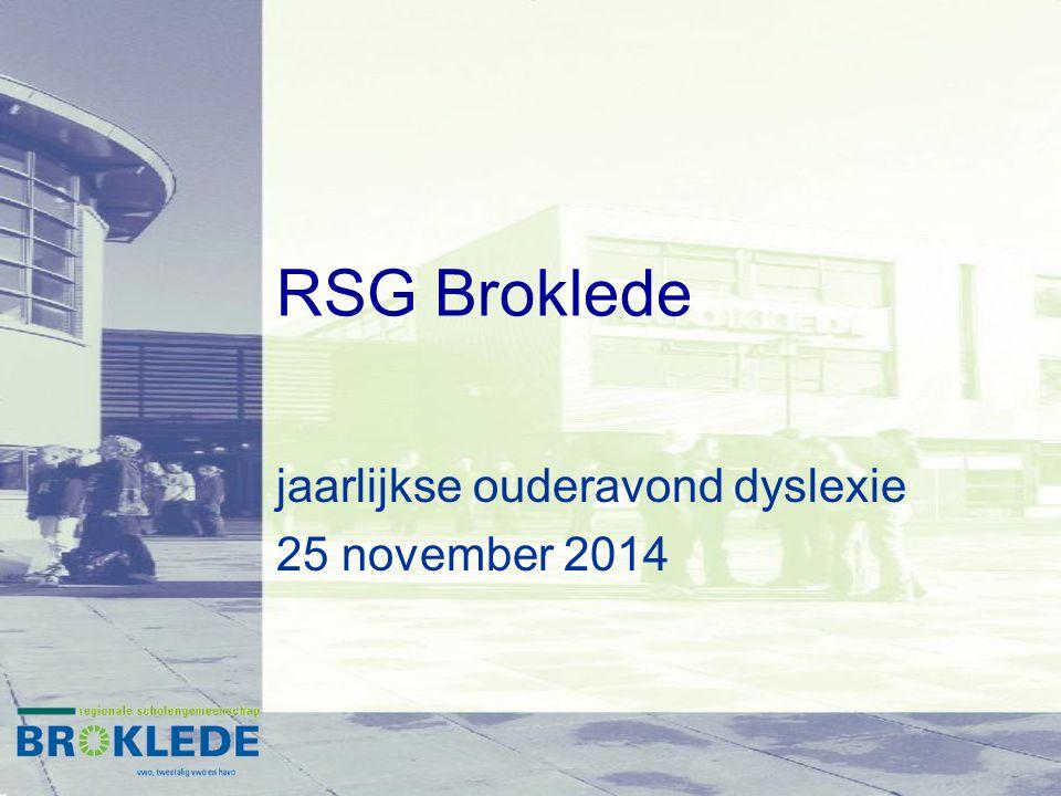 RSG Broklede jaarlijkse ouderavond dyslexie 25 november 2014