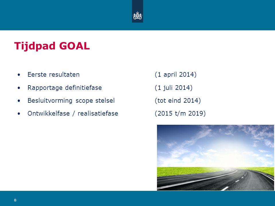 Tijdpad GOAL Eerste resultaten (1 april 2014) Rapportage definitiefase (1 juli 2014) Besluitvorming scope stelsel(tot eind 2014) Ontwikkelfase / realisatiefase(2015 t/m 2019) 8