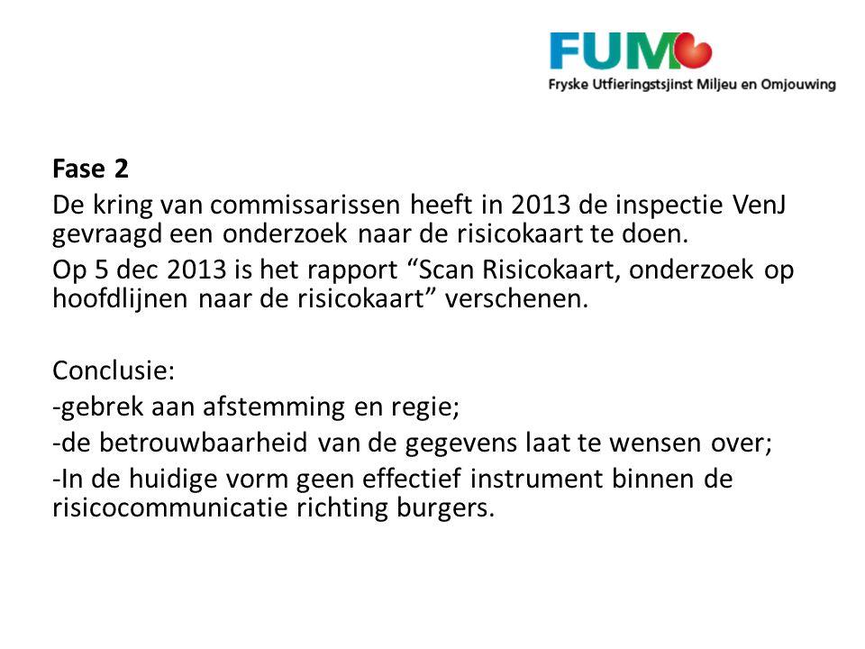 """Fase 2 De kring van commissarissen heeft in 2013 de inspectie VenJ gevraagd een onderzoek naar de risicokaart te doen. Op 5 dec 2013 is het rapport """"S"""
