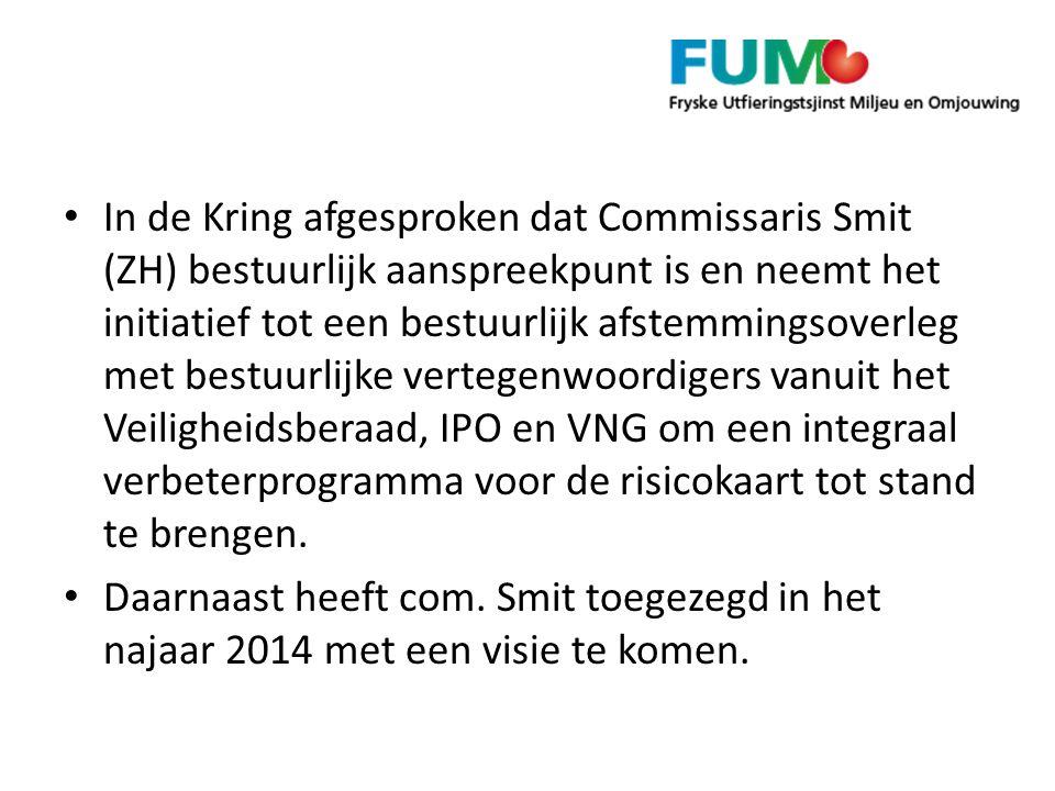 In de Kring afgesproken dat Commissaris Smit (ZH) bestuurlijk aanspreekpunt is en neemt het initiatief tot een bestuurlijk afstemmingsoverleg met best