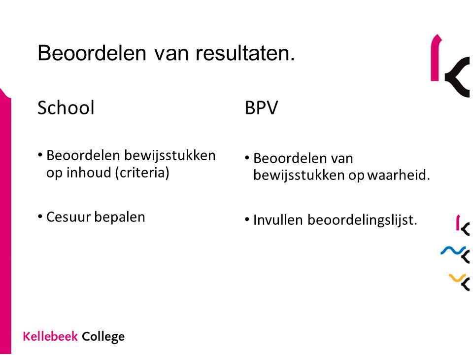 Beoordelen van resultaten. School Beoordelen bewijsstukken op inhoud (criteria) Cesuur bepalen BPV Beoordelen van bewijsstukken op waarheid. Invullen