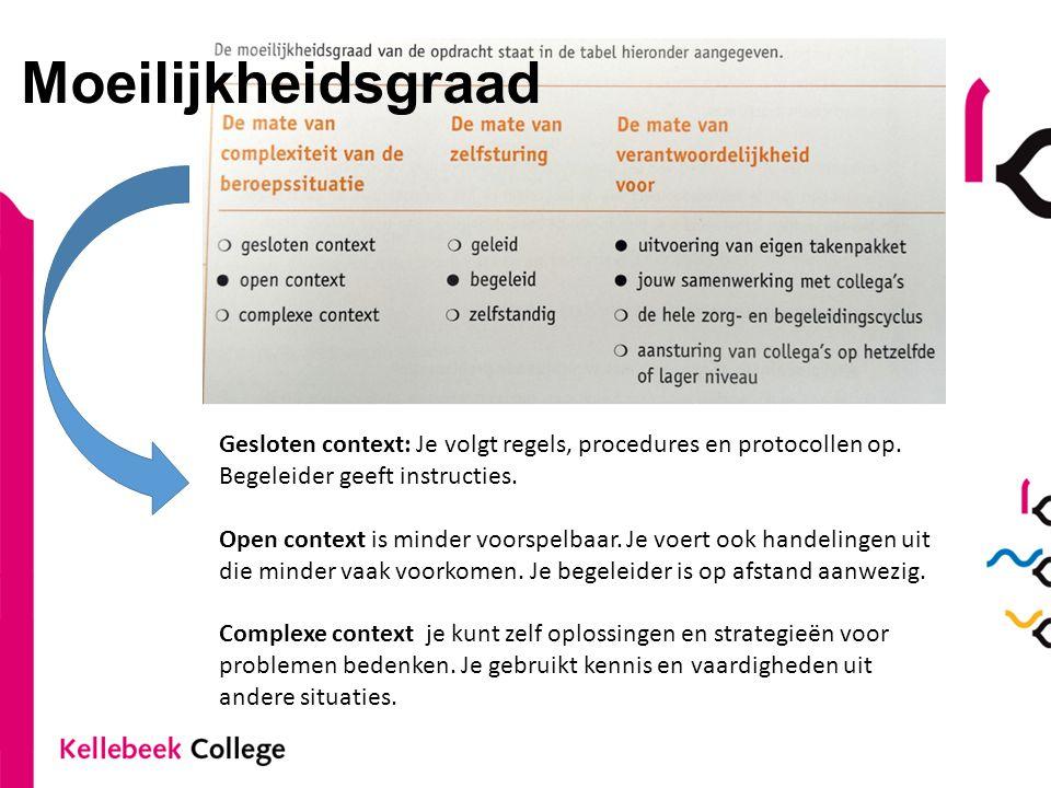 Moeilijkheidsgraad Gesloten context: Je volgt regels, procedures en protocollen op. Begeleider geeft instructies. Open context is minder voorspelbaar.