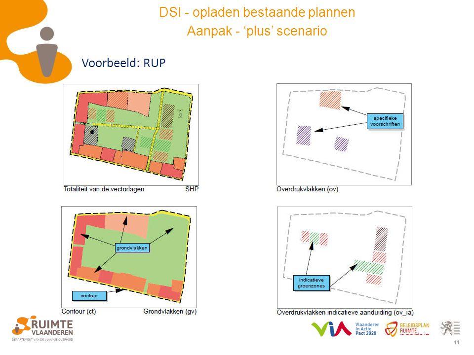 11 Voorbeeld: RUP DSI - opladen bestaande plannen Aanpak - 'plus' scenario