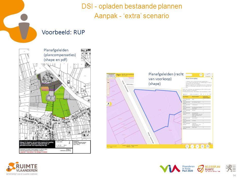 14 Planafgeleiden (plancompensaties) (shape en pdf) Planafgeleiden (recht van voorkoop) (shape) Voorbeeld: RUP DSI - opladen bestaande plannen Aanpak