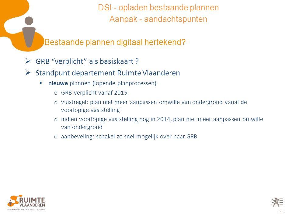 "25  GRB ""verplicht"" als basiskaart ?  Standpunt departement Ruimte Vlaanderen  nieuwe plannen (lopende planprocessen) o GRB verplicht vanaf 2015 o"