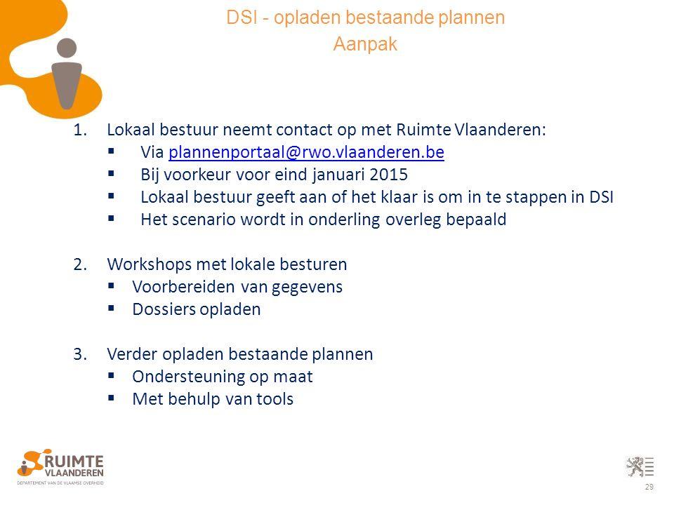 29 1.Lokaal bestuur neemt contact op met Ruimte Vlaanderen:  Via plannenportaal@rwo.vlaanderen.beplannenportaal@rwo.vlaanderen.be  Bij voorkeur voor