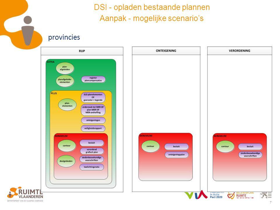 7 provincies DSI - opladen bestaande plannen Aanpak - mogelijke scenario's