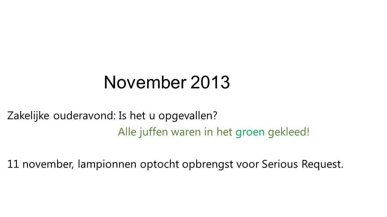 November 2013 Zakelijke ouderavond: Is het u opgevallen.