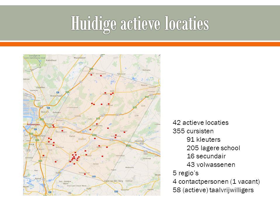 42 actieve locaties 355 cursisten 91 kleuters 205 lagere school 16 secundair 43 volwassenen 5 regio's 4 contactpersonen (1 vacant) 58 (actieve) taalvr