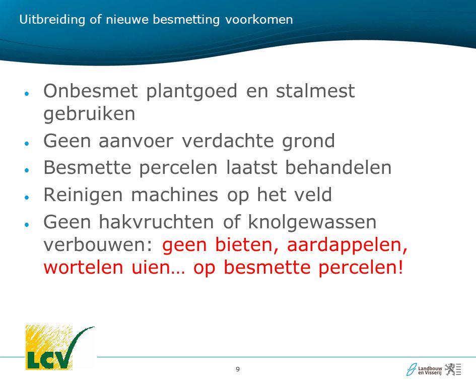 99 Uitbreiding of nieuwe besmetting voorkomen Onbesmet plantgoed en stalmest gebruiken Geen aanvoer verdachte grond Besmette percelen laatst behandele