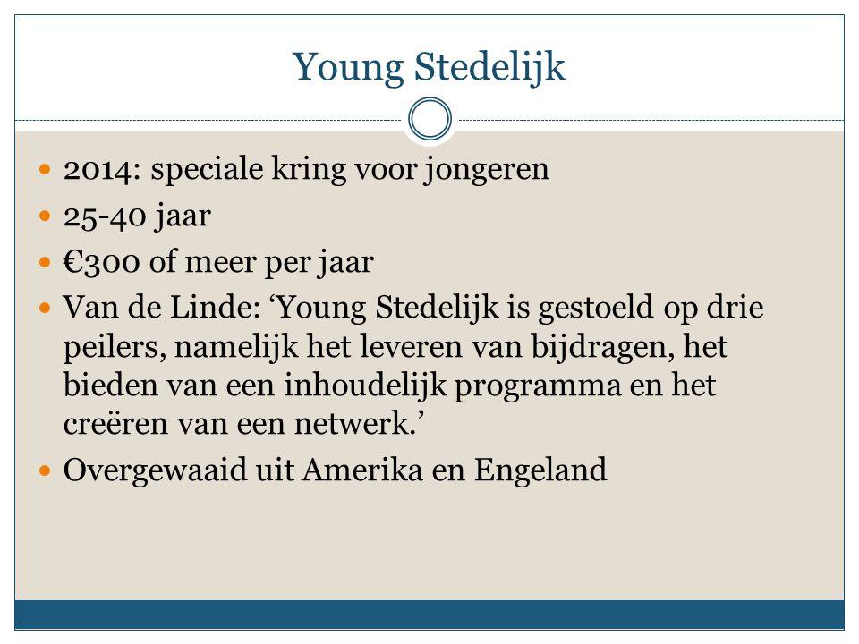 Young Stedelijk 2014: speciale kring voor jongeren 25-40 jaar €300 of meer per jaar Van de Linde: 'Young Stedelijk is gestoeld op drie peilers, nameli