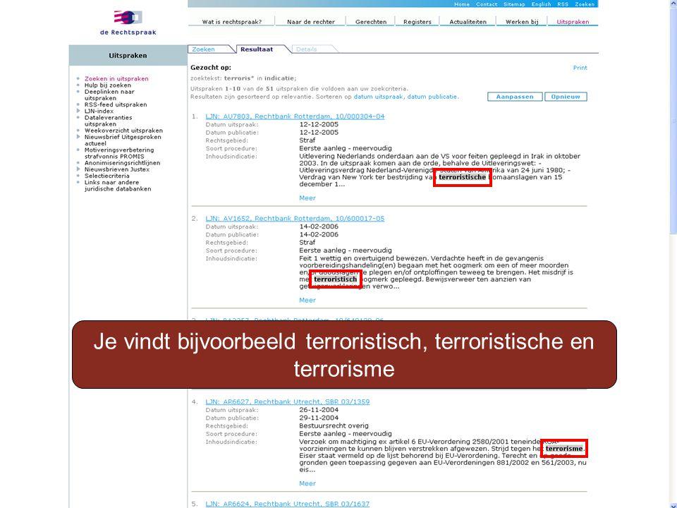 Je vindt bijvoorbeeld terroristisch, terroristische en terrorisme