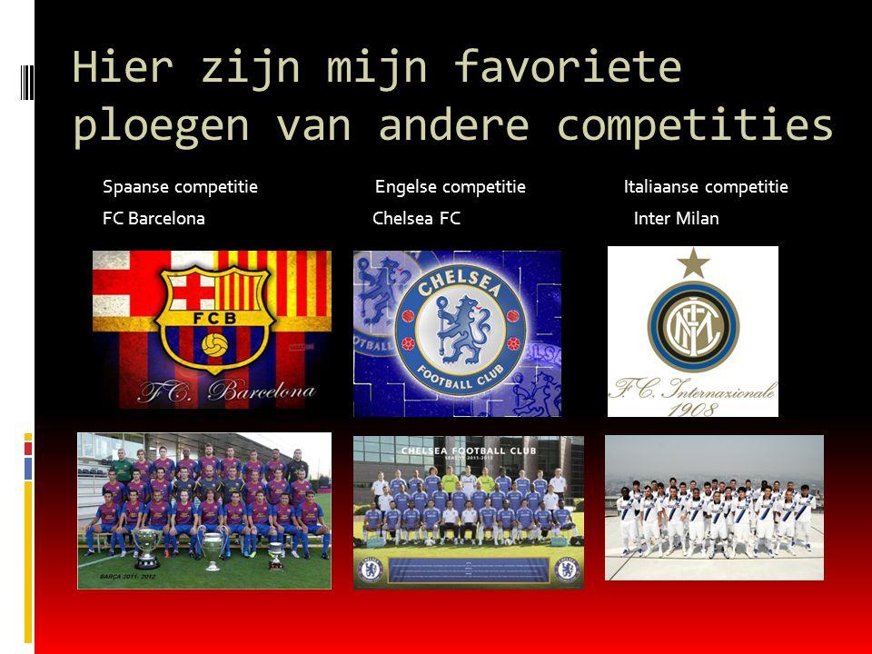 Hier zijn mijn favoriete ploegen van andere competities Spaanse competitie Engelse competitie Italiaanse competitie FC Barcelona Chelsea FC Inter Milan