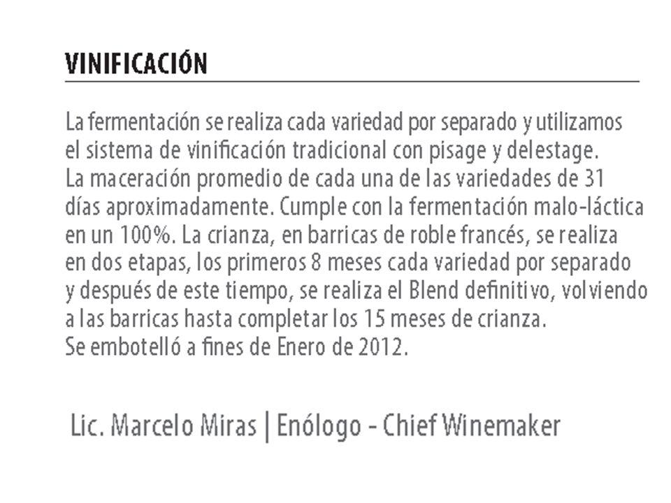 Vinificatie : Elke druif wordt apart gefermenteerd op traditionele wijze ( pisage y delestage ), elke druivesoort apart maceratie van ongeveer 31 dagen, gevolgd door malolactatische gisting (100%).