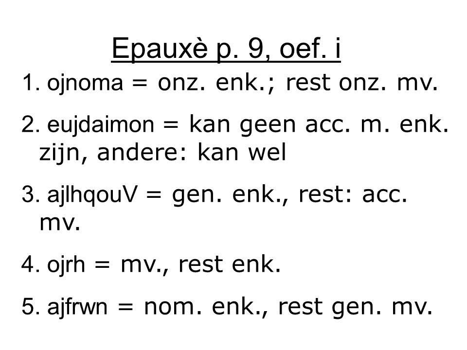 Epauxè p. 9, oef. i 1. ojnoma = onz. enk.; rest onz. mv. 2. eujdaimon = kan geen acc. m. enk. zijn, andere: kan wel 3. ajlhqouV = gen. enk., rest: acc