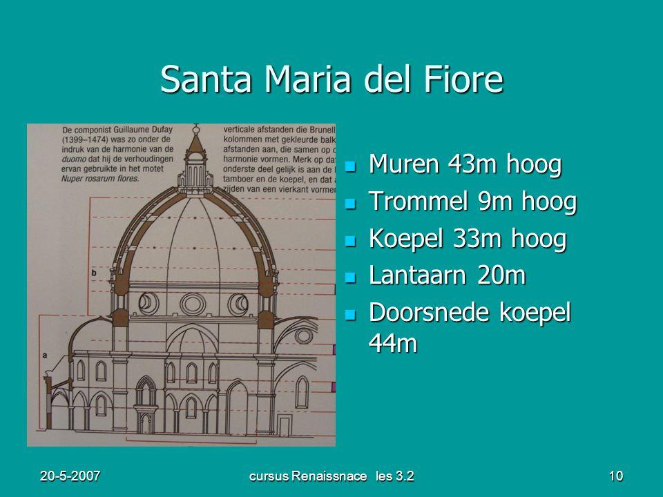 20-5-2007cursus Renaissnace les 3.210 Santa Maria del Fiore Muren 43m hoog Muren 43m hoog Trommel 9m hoog Trommel 9m hoog Koepel 33m hoog Koepel 33m h