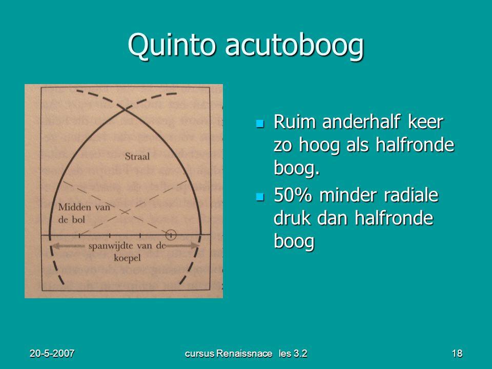 20-5-2007cursus Renaissnace les 3.218 Quinto acutoboog Ruim anderhalf keer zo hoog als halfronde boog. Ruim anderhalf keer zo hoog als halfronde boog.