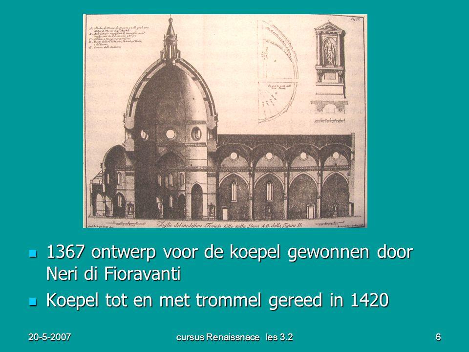 20-5-2007cursus Renaissnace les 3.26 1367 ontwerp voor de koepel gewonnen door Neri di Fioravanti 1367 ontwerp voor de koepel gewonnen door Neri di Fi