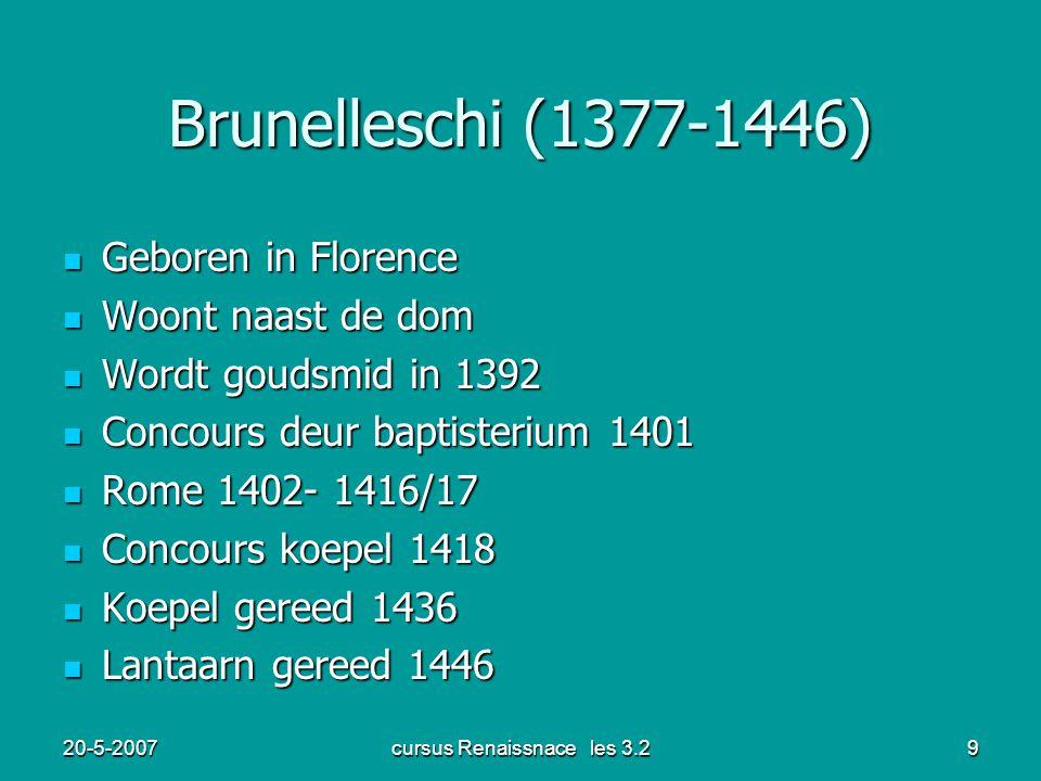 20-5-2007cursus Renaissnace les 3.29 Brunelleschi (1377-1446) Geboren in Florence Geboren in Florence Woont naast de dom Woont naast de dom Wordt goud