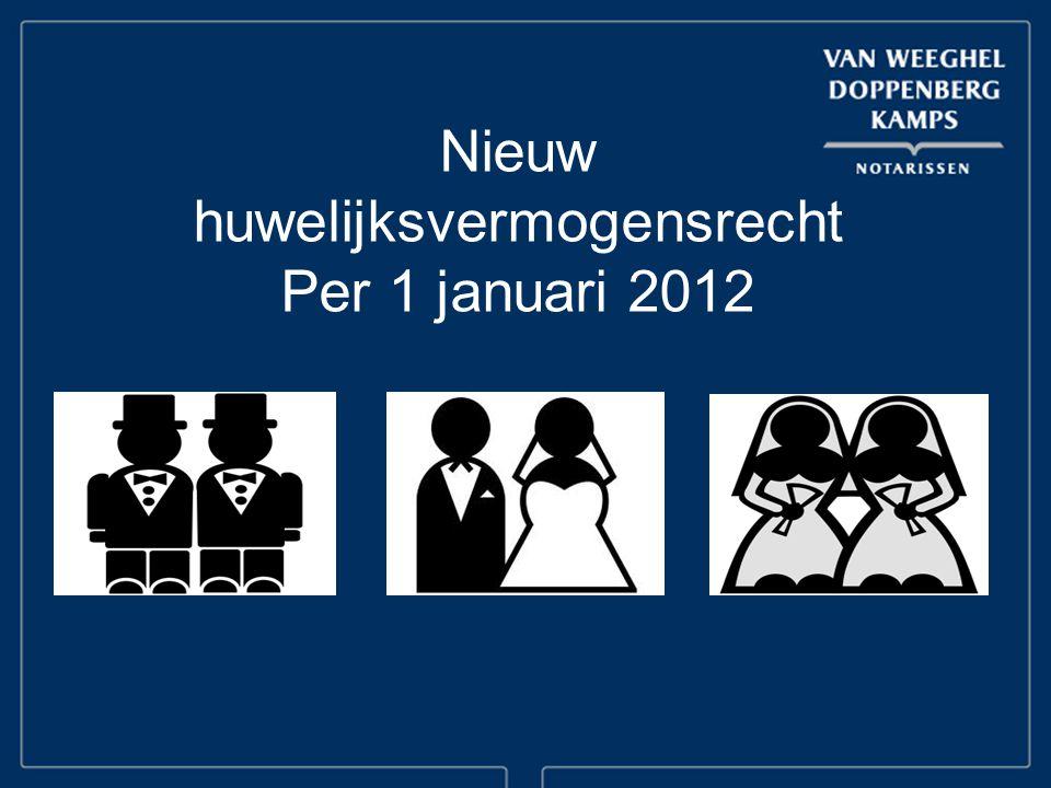 Nieuw huwelijksvermogensrecht Per 1 januari 2012