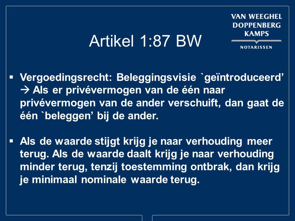 Artikel 1:87 BW  Vergoedingsrecht: Beleggingsvisie `geïntroduceerd'  Als er privévermogen van de één naar privévermogen van de ander verschuift, dan
